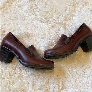 Brown leather Dansko heel booties